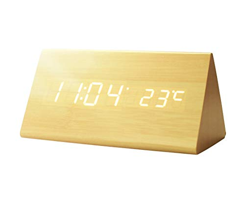 GREENIC Wooden Digital Alarm Clock, USB Powered/Battery Operated, Time Date Temperature Display, 3 Alarm Sets Triangular