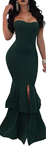 Evesymil Women Strapless Split Mermaid Bodycon Evening Gown Party Maxi Long Dress Green Large