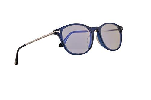 Tom Ford FT5553FB Eyeglasses 54-19-145 Shiny Blue w/Demo Clear Lens 090 FT5553-F-B FT TF 5553FB TF5553FB TF5553-F-B (Best Tom Ford Sunglasses For Round Face)
