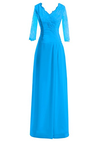 Blue Chiffon Ocean Dresses Lace Bride Bridal Bess The V Women Formal s Neck Mother gpxqZOa