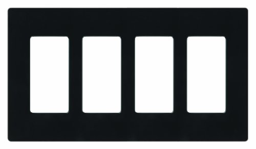 Lutron CW-4-BL Claro 4-Gang Wallplate, Black (Bl Switch Box)