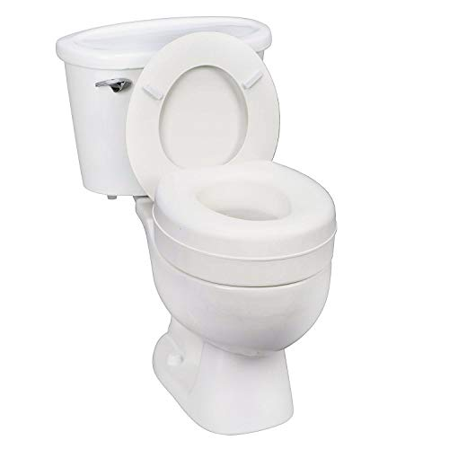 HealthSmart Portable Elevated Raised Toilet Seat Riser, White