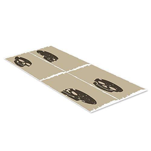C COABALLA Grunge Waterproof Floor Sticker,Skull Figure on Murky Flat Framework Halloween Crossbones Spooky Monster Image for Kitchen Living Room,47.2