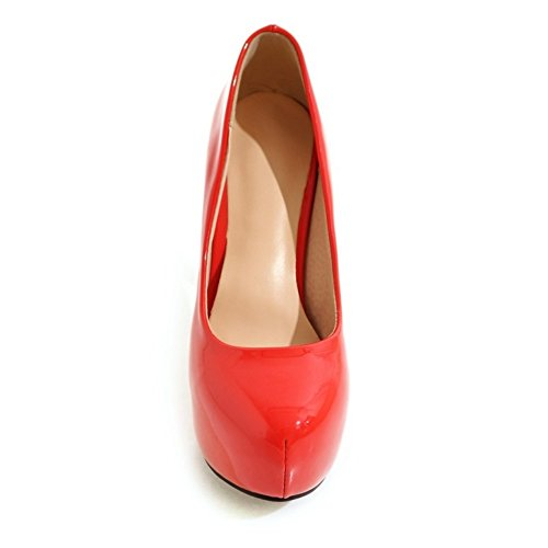 TAOFFEN Women High Heels Pumps Shoes Platform Red wBPzZ5q7C