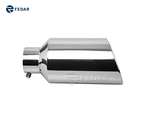4' Exhaust (Fedar 4'' Inlet 7'' Outlet 15'' Long Rolled End Angle Cut Exhaust Tailpipe Tip)