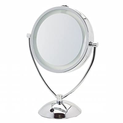 Danielle 8X Day/Evening LED Lighted Make Up Mirror, Chrome Plated