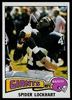 (1975 Topps Regular (Football) Card# 227 Spider Lockhart of the New York Giants VGX Condition)
