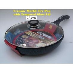 Ceramic Marble Coated Non Stick Cast Aluminium Fry Pan with Lid, 28 cm (11 inches)