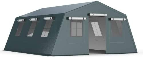 INTEROUGE Pro - Carpa Pabellón Tienda 5x6.24m para Jardín Camping Fiesta Terraza Acampada (De Aluminio y PVC Grueso Impermeable, Doble Aislamiento para Anti-Frío, Anti-Calor), Color Verde Militar: Amazon.es: Jardín