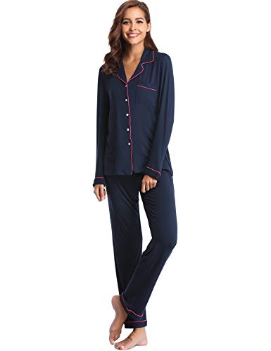 Lusofie Long Pajama Set for Women Button Down Pjs Sets with Drawstring Pants (Navy Blue,XL)