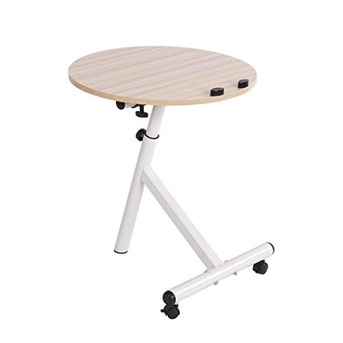 Harmony Round Side Table - Hellofishly Adjustable Lazy Small Side Coffee Table, Computer Table Multi Function Wood Polished Surface Overlapping Ending Tables Wood Desk (White)