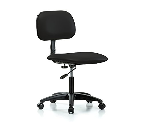 Perch Rolling Lab Chair with Adjustable Basic Backrest for Hardwood or Tile Floors, Desk Height, Black Vinyl by Perch Chairs & Stools