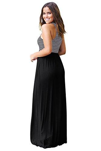 JYUAN Womens Summer Sleeveless Casual Striped Maxi Dress Tank Long Party Dress with Pockets (Small, Black) by JYUAN (Image #3)