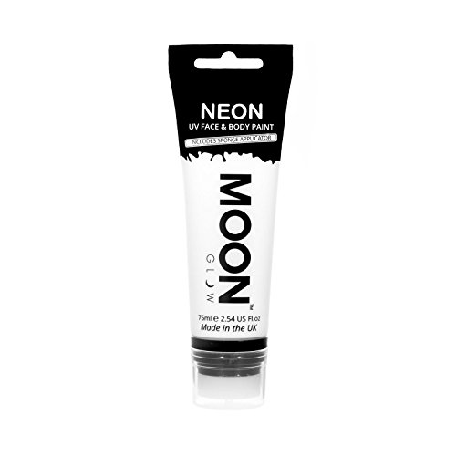 Moon Glow Supersize 2.54oz Blacklight Neon UV Face & Body Paint - White - with sponge applicator
