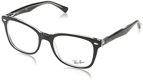 Ray-Ban RX5285 Square Eyeglass Frames, Black On Transparent/Demo Lens, 53 mm