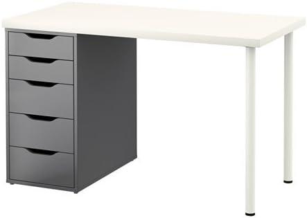 Ikea LINNMON/Alex - Mesa, Blanco, Gris - 120x60 cm: Amazon.es: Hogar