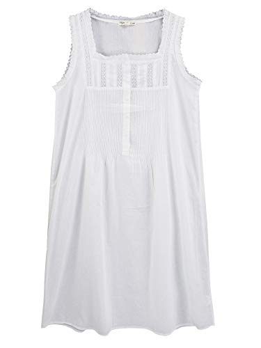 StylesILove Womens Handmade White Cotton Embroidered Eyelet Accent Nightgown (Embroidery Eyelet Accent, Small)