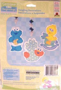 Sesame Street Beginnings Dangling Decorations - 3 Count (Baby Sesame Street Party Supplies)