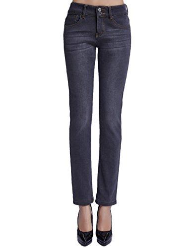 Camii Mia Women's Slim Fit Fleece Lined Jeans (W30 x L32, Grey (New Size))