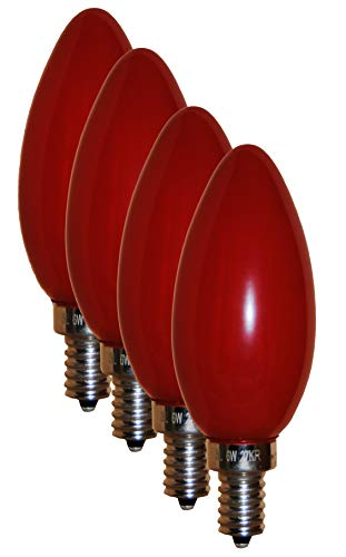 SleekLighting 6 Watt E12 LED Filament Candelabra Red Light Bulb, dimmable (60W Incandescent Replacement) Decorative Chandelier Torpedo Tip, Frosted Red Glass Cover E12 Base 4pack Review