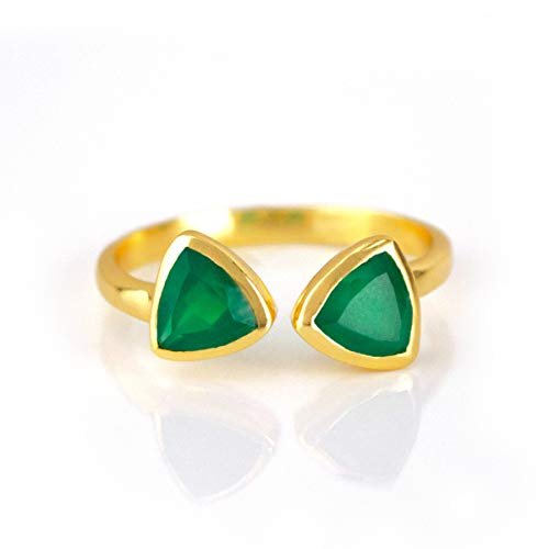 - Adjustable Dual Triangle Emerald Green Onyx Ring, Double May Birthstone, 18K Vermeil Gold Ring [rTrB]