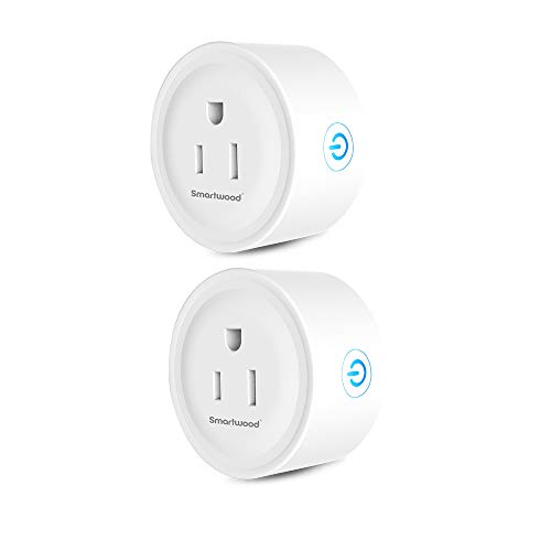 Smartwood Wifi Outlet, Smart Plug Compatible with Amazon Alexa/Google Home, Remote Control by Smart Phone with Timing Function from Anywhere, No Hub Required(2-Pack)