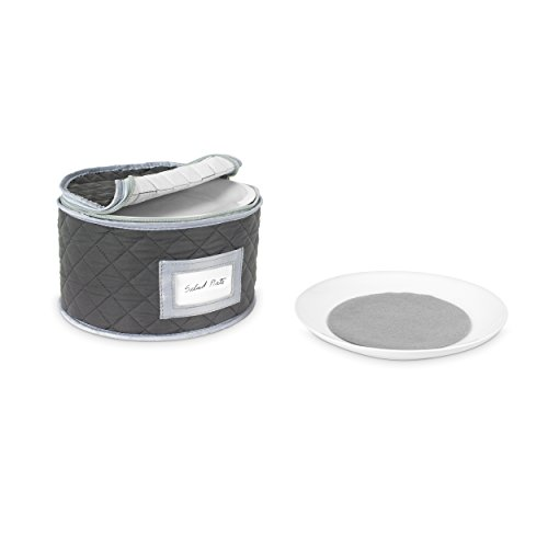 China Storage Case - Salad Plate Quilted Case - 10 inches diameter x 6 inches height - Gray - Includes 12 Felt Separators