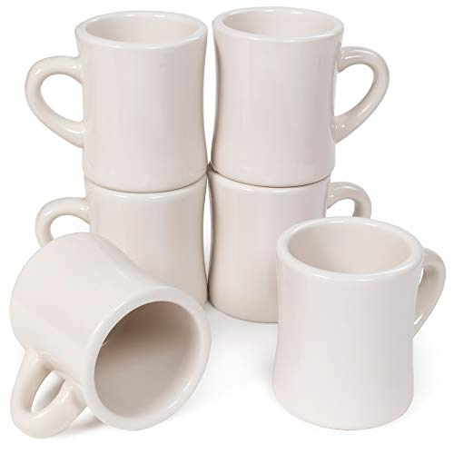 6-pack Diner Coffee Mugs, Tea & Hot Beverages, 10oz - Classic Pure White Diner Mugs, Thick Ceramic Cups with Heavy Duty Handles Drinking Glasses for Restaurant, Café, Coffee Shop & Catering Supplies