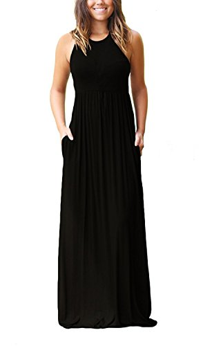 GRECERELLE Women's Sleeveless Racerback Loose Plain Maxi Dresses Casual Long Dresses with Pockets