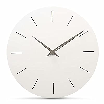 FlorLife Silent White Round Wall Clock Non Ticking 12 Inch Atomic Sweep Movement Analog Clock, Decorative for Kitchen, Living Room, Bathroom, Bedroom, Office - Material: Wooden MDF, laser engraving single face, walnut wood pointer, no frame nor glass cover. Ideal for a range of antique and vintage style decoration, with practical and beautiful combination NO TICKTOCK - 100% silent noiseless, non-ticking with copper coil movement design, long service life Simple and Modern Design: No second hand, Simple and elegant. And the wall clock will look beautiful in any room. It will match all of your decor in your home and office - wall-clocks, living-room-decor, living-room - 31YXH7ioj%2BL. SS400  -