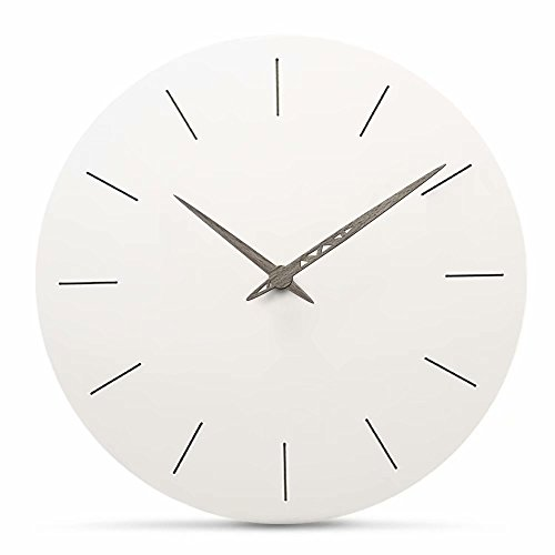 FlorLife Silent White Round Wall Clock Non Ticking 12 Inch Atomic Sweep Movement Analog Clock, Decorative for Kitchen, Living Room, Bathroom, Bedroom, Office