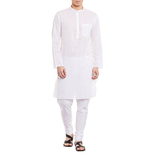 Mens Embroidered Cutwork Cotton Kurta Machine Embroidery, Off White Chest Size: 44 Inch by ShalinIndia