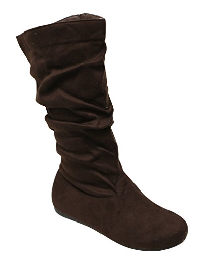 Forever Selena-23 Womens Almond Toe Knee High Side Zipper Slouchy Suede Boots Brown