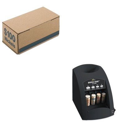 KITPMC61005RSICO1000 - Value Kit - Pm Company Corrugated Cardboard Coin Storage w/Denomination Printed On Side (PMC61005) and Royal Sovereign Fast Sort CO-1000 One-Row Coin Sorter (RSICO1000)