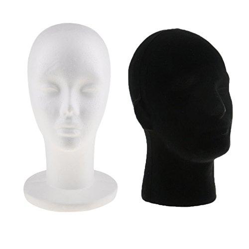 Perfk 2個 マネキンヘッド 男性 女性 発泡スチロール モデル ウィッグ キャップ ディスプレイ スタンドの商品画像