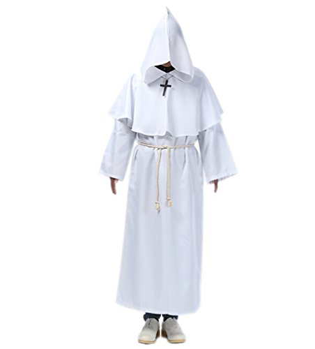Honeystore Men's Hooded Monk Priest Robe Tunic Halloween Costume White L