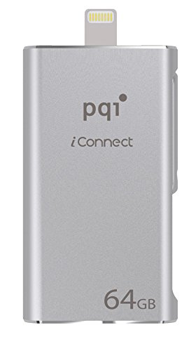 64GB PQI iConnect Silver OTG USB Backup Drive for iPhone / iPad / iPod With Lightning Connection (Drives Pqi Usb)