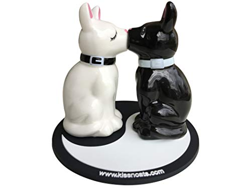 Cats Salt and Pepper Shaker Set Black & White Kissing - Decorative Ceramic Magnetic Kitty Cat Salt & Pepper Shakers with BONUS Coaster - Perfect Gift for Cat Lovers by - Black Himalayan Cat