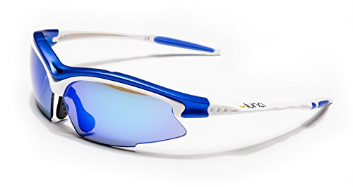 Luna Sky Running Cycling Sunglasses with Hard Protective Case (Blue Revo Lenses, White/Blue Frame) with Gray Interchangeable - Luna Eyewear