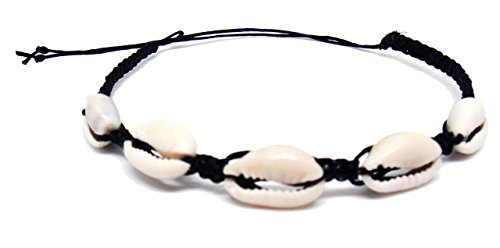 Hawaiian Natural Cowrie Bracelet - Shell Stretch Chip Black Wrist Ankle for Women