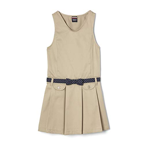 (French Toast Girls'  Belted Jumper, khaki, 6,Little Girls)