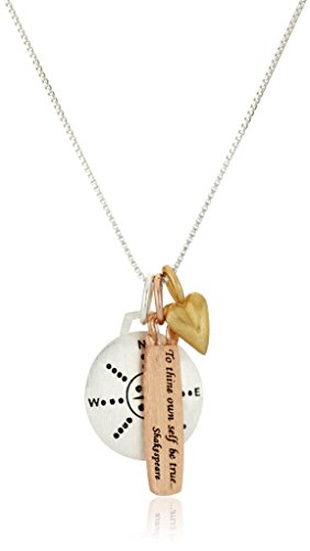 "Tri-Color ""Choose Your Own Path"" Reversible Three-Charm Necklace, 18"""