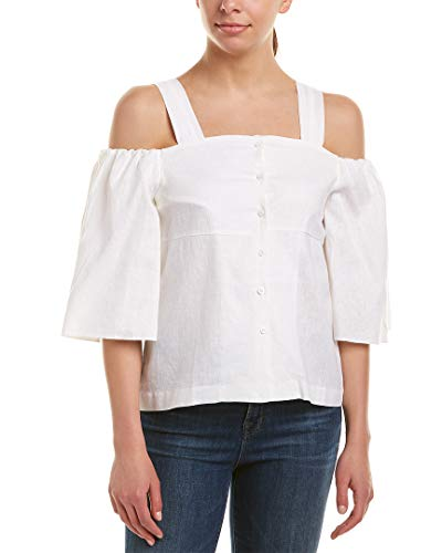 J.O.A. Womens Cold-Shoulder Linen-Blend Top, S, White