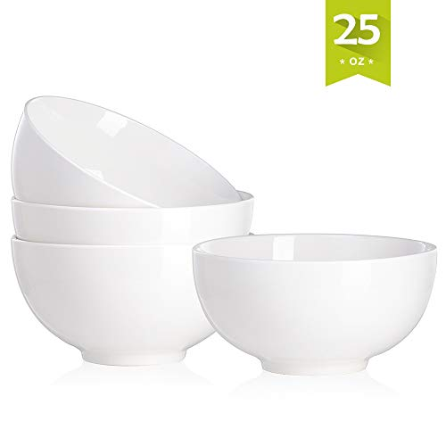 owls 25 Ounce for Cereal, Soup, Salad and Desserts, Deep Rice Bowl Set Dishes, 4 Packs, White ()