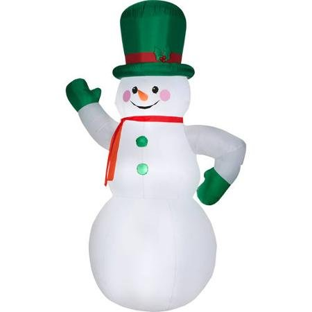 Gemmy Snowman Green Mittens and Hat Inflatable Christmas Decorations - Lighted Airblown Giant Snowman with a Red Scarf - 10 Feet Tall