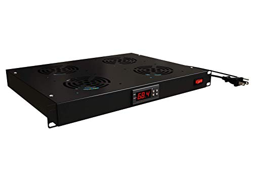Rack Mount Fan - 4 Fans Server Cooling System - 1U 19'' Rackmount Cabinet Panel w/Adjustable Airflow Control - Heat Monitor Digital Display - Temperature Sensor Alarm -Air Flow Exhaust -Tupavco TP1701 by Tupavco (Image #3)