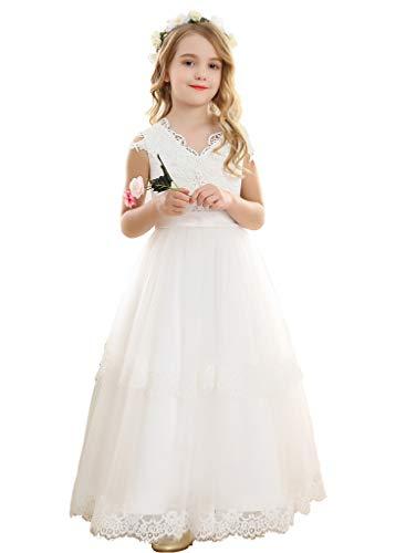 Bow Dream Vintage Long Tulle Flower Girl Dresses Kids Wedding Birthday First Communion White -