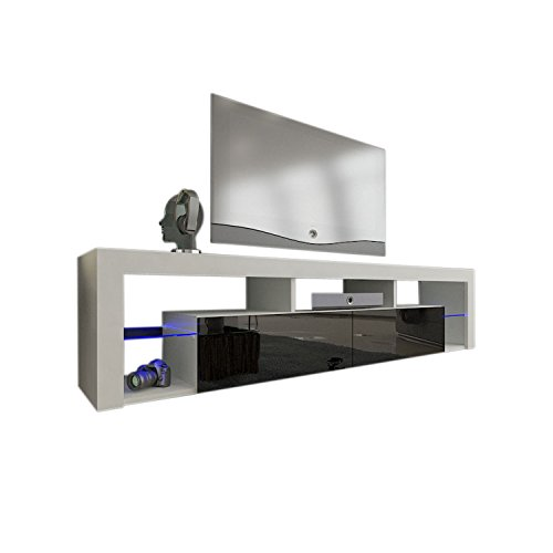 "Meble Furniture & Rugs TV Stand Milano 200 LED Wall Mounted Floating 79"" TV Stand (White/Black)"
