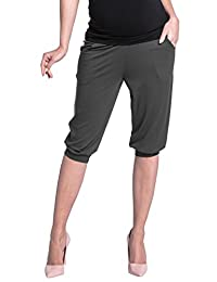 Zeta Ville - Womens stretch maternity trousers pockets elastic belly band - 665c