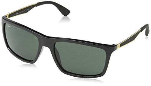 Ray-Ban INJECTED MAN SUNGLASS - SHINY BLACK Frame DARK GREEN Lenses 58mm - Ray Sunglasses Rectangular Ban